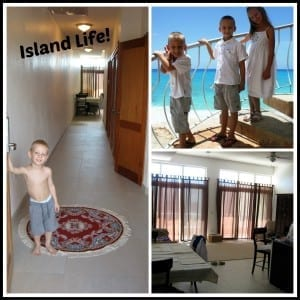 Living on our island and pics of our 2 bedroom apartment.