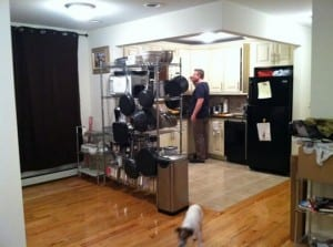 Here is a shot of our kitchen in NY and of my hubby!